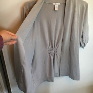 Isela rayon blend cardigan gray sweater stretchy